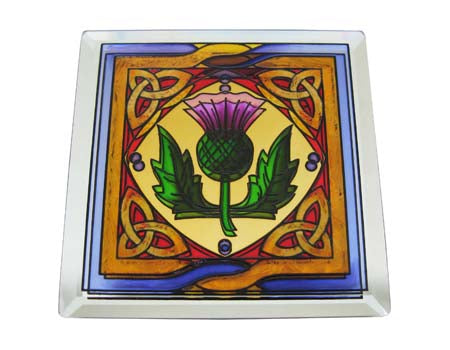 Scottish Thistle Coaster - Stained Mirror