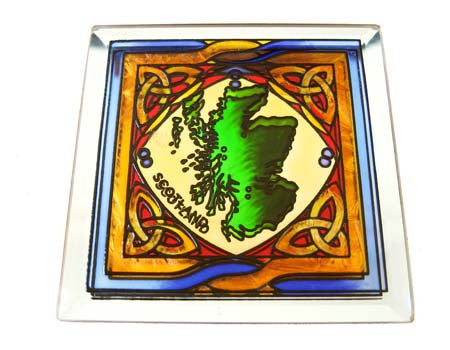 Map of Scotland Coaster - Stained Mirror