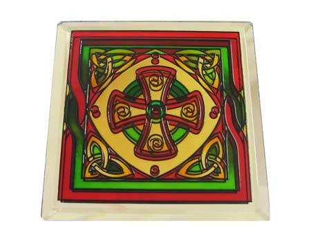 Welsh Celtic Cross Coaster - Stained Mirror