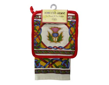 Scottish Weave Tea Towel & Pot Holder
