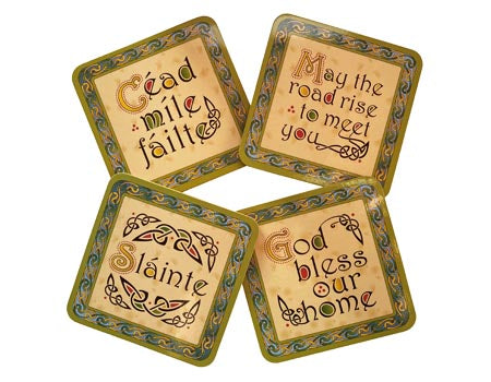 Set of 4 Irish Weave Words Coasters