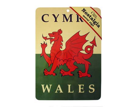 Welsh Flag Nostalgia Metal Sign