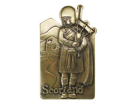 Scottish Piper Bronze Wall Plaque