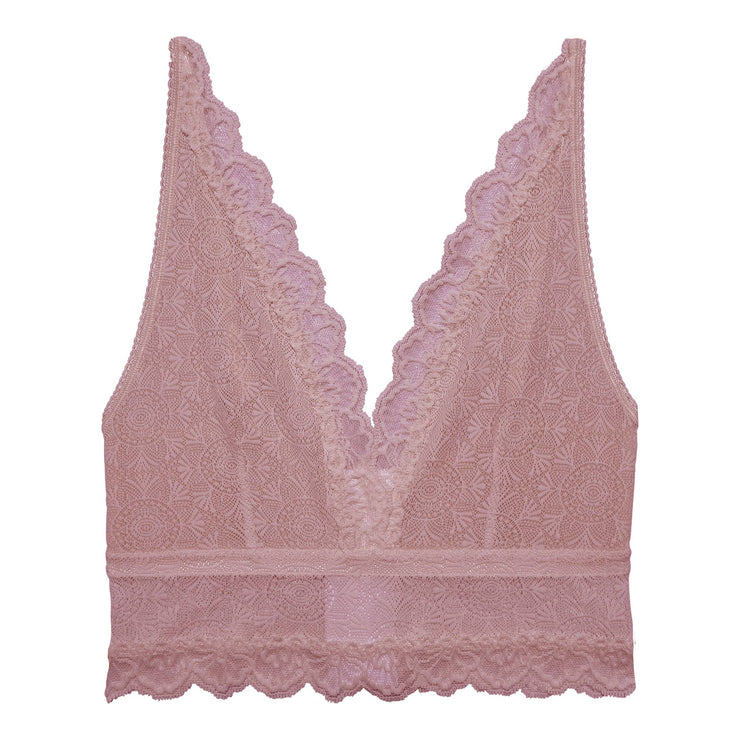 This long line bralette is cut from beautiful lace in a soft purple color. Sustainable underwear.