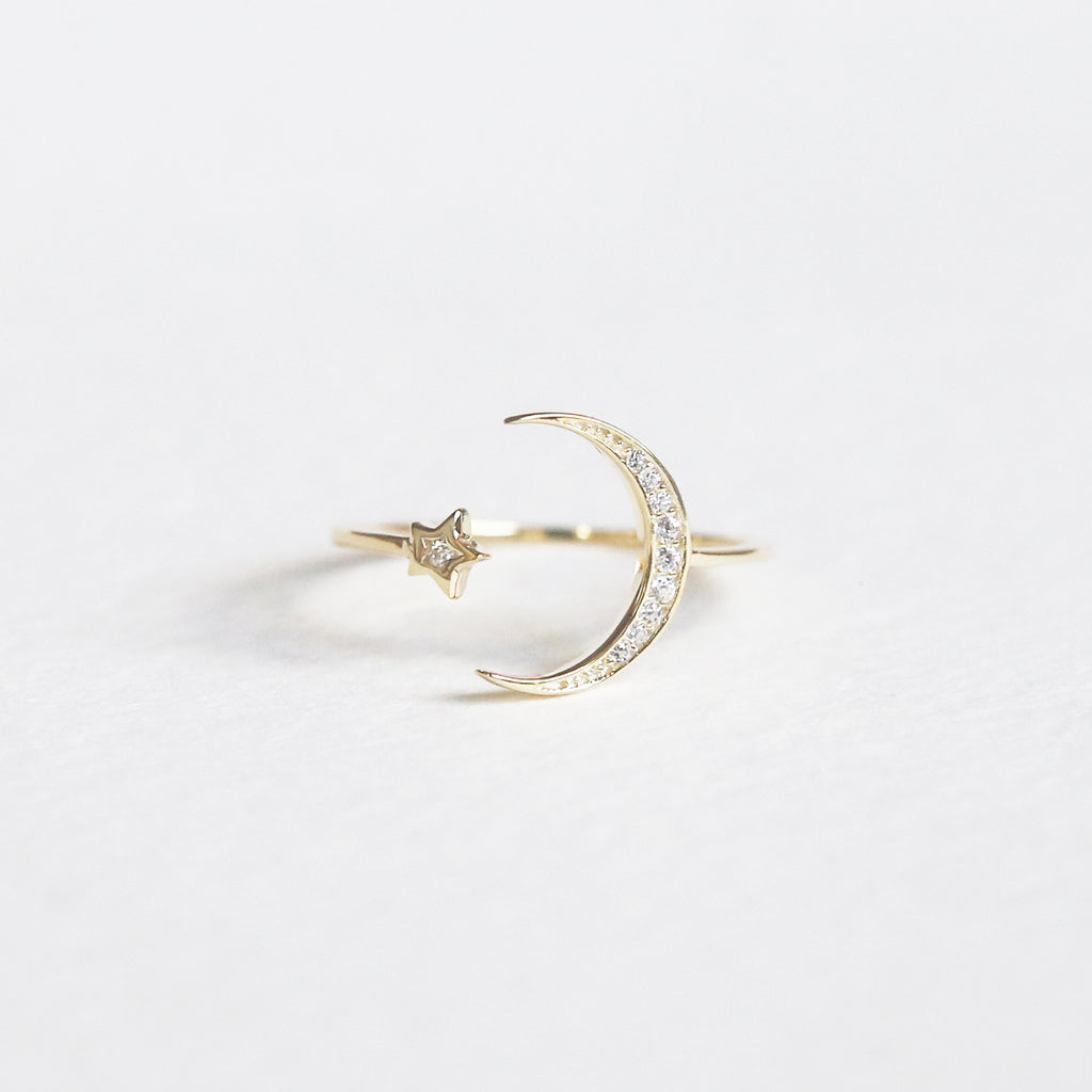 CZ Moon and Star Ring | Gold