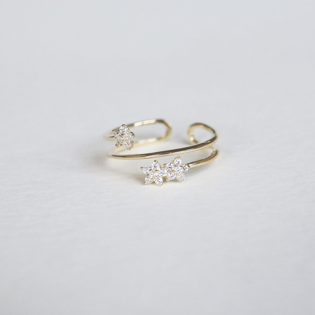 CZ Flower Ring | Gold