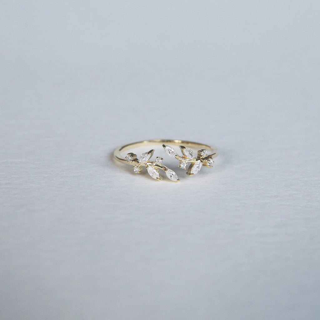 CZ Leaf Ring | Gold