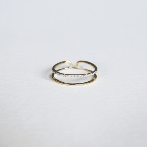 Pave double Ring | Gold