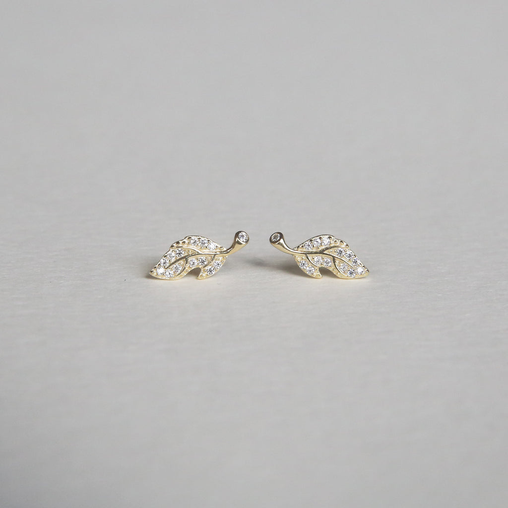 CZ Leaf Earrings | Gold