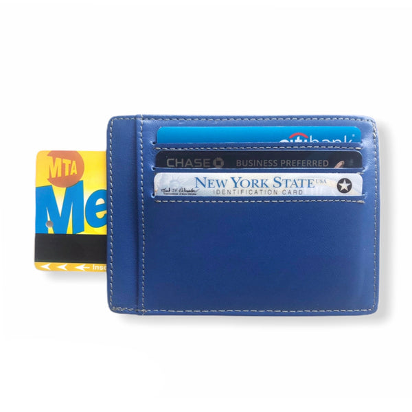 Leather Card Wallet | Navy Blue