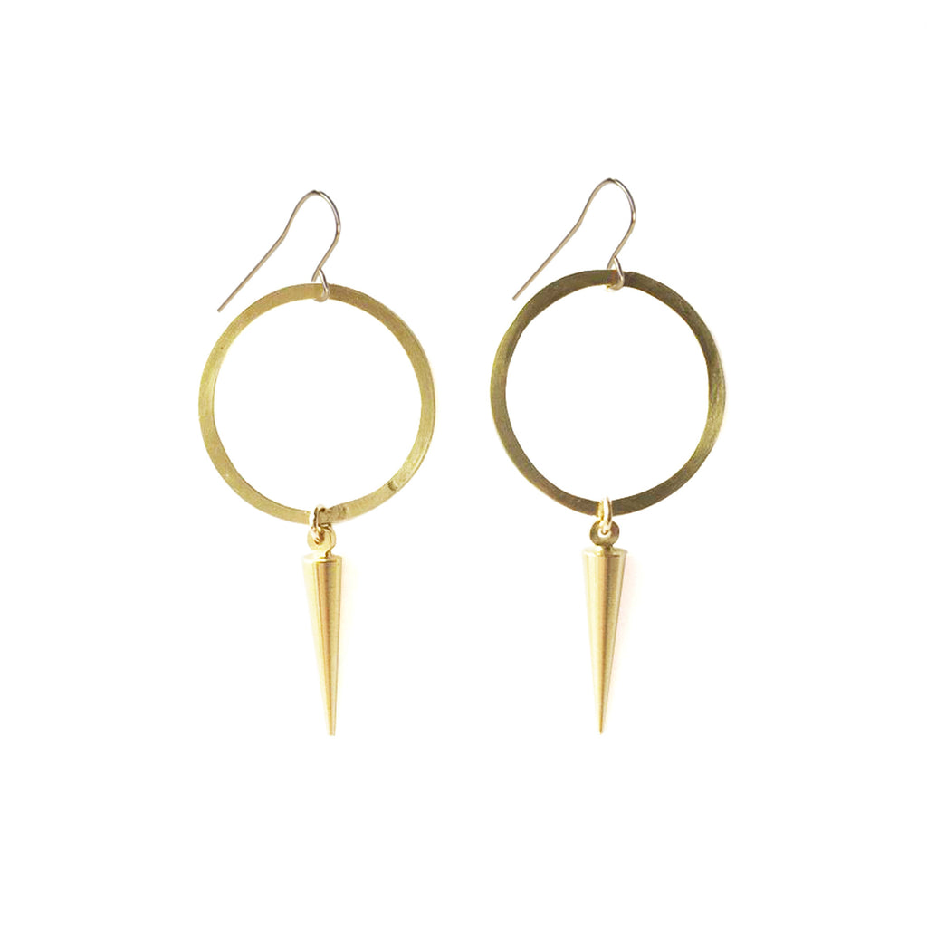 Circle Drop Spike Earrings | 14K Gold Filled