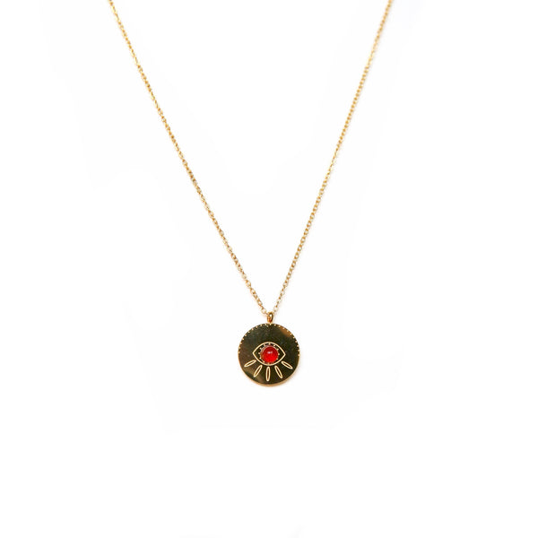 Red Eye Necklace | Gold