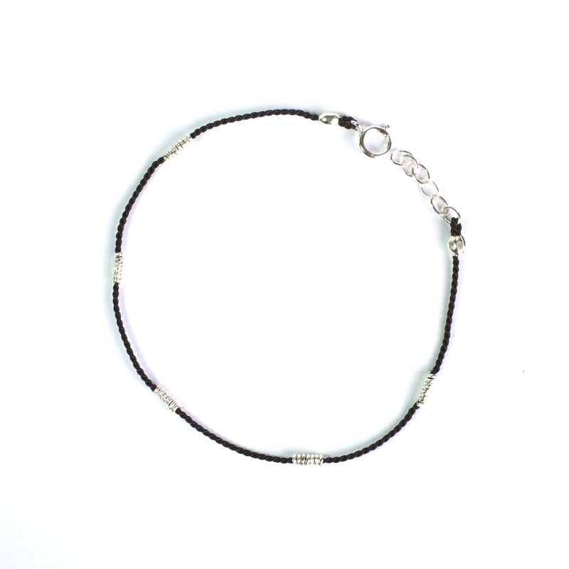Black Silk with Silver wire bracelet