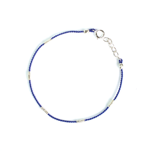 Blue Silk with Silver wire bracelet