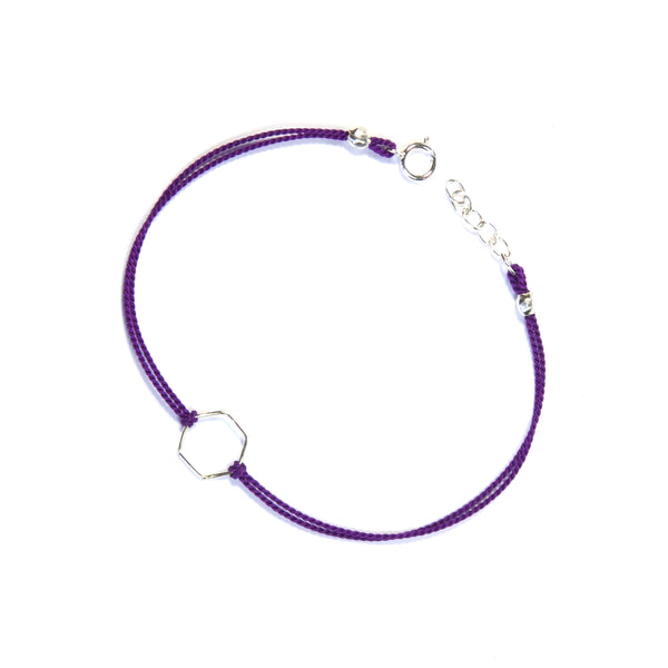Silver geometry with silk - Purple, hexagon Bracelet