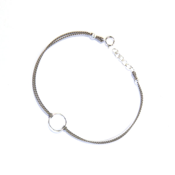 Silver geometry with silk - Gray, circle Bracelet