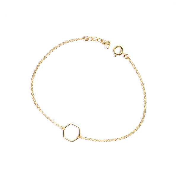 Gold geometry hexagon chain bracelet