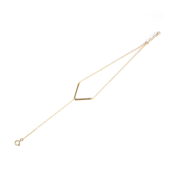 V Shape Bar 14K Gold Filled Chain Bracelet