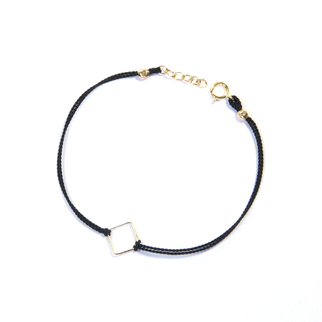 14K gold filled geometry with silk - Black, square Bracelet