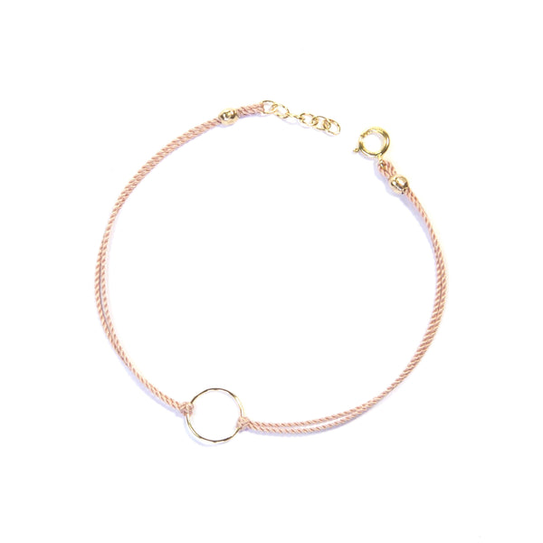 14K gold filled geometry with silk - Pink, circle Bracelet