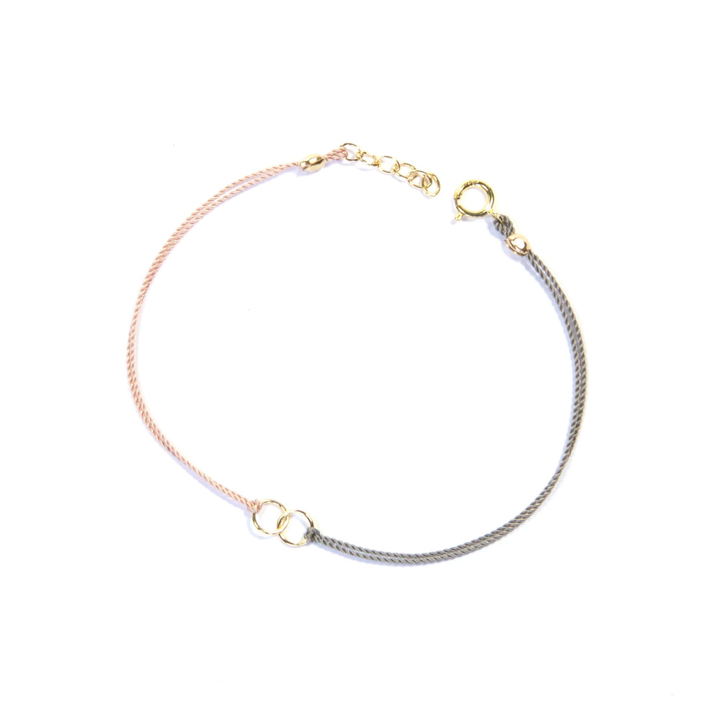 Two color silk string with two circles - pink and gray Bracelet