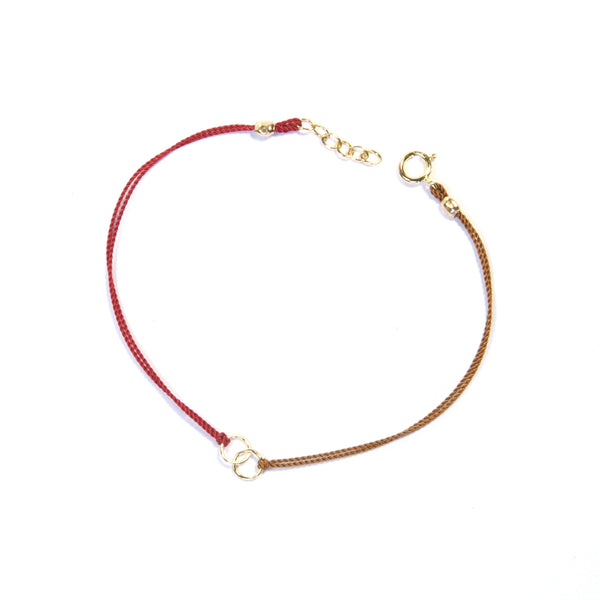 Two color silk string with two circles - red and tan Bracelet