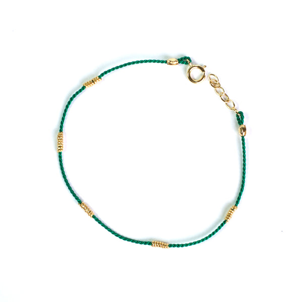 Green Silk with Gold wire bracelet