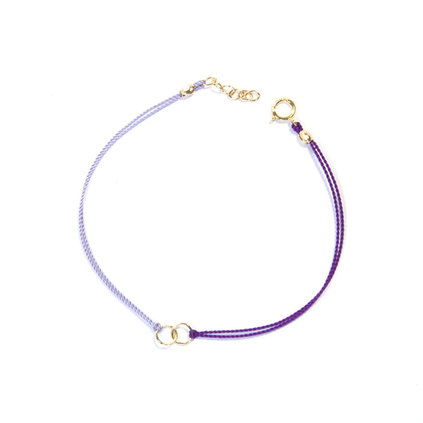 Two color silk string with two circles - purple and lilac Bracelet