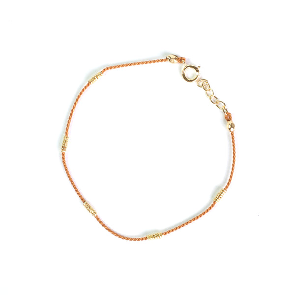 Tan Silk with Gold wire bracelet