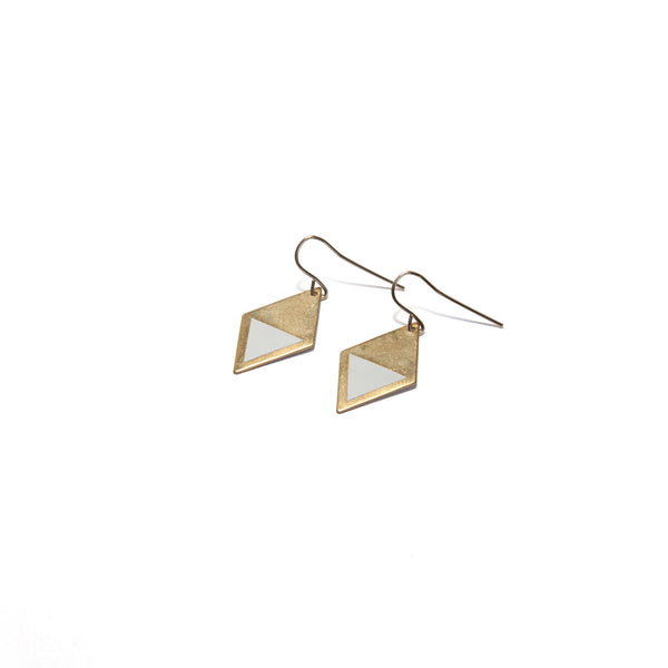Brass Enamel Hook Earrings - white