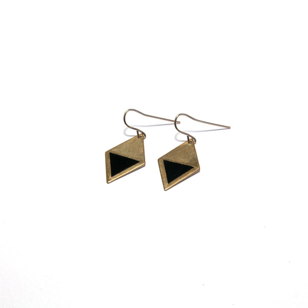 Brass Enamel Hook Earrings - black