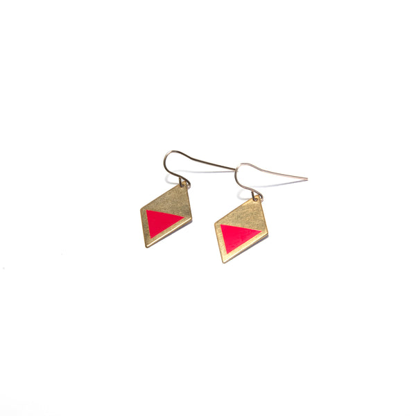 Brass Enamel Hook Earrings - pink