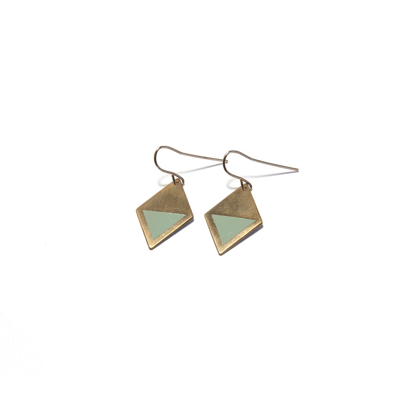 Brass Enamel Hook Earrings - mint