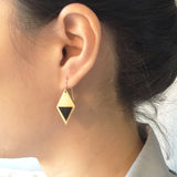 Model wearing Brass Enamel Hook Earrings - blue