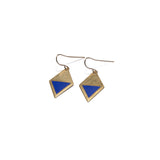 Brass Enamel Hook Earrings - blue
