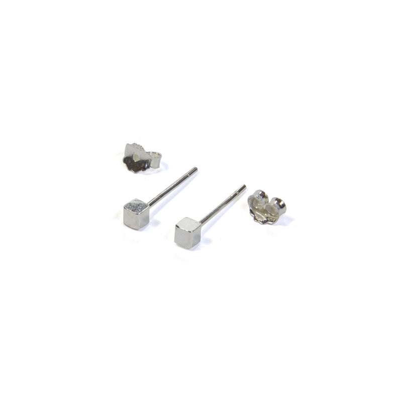 Medium Cube Earrings with posts out - Silver