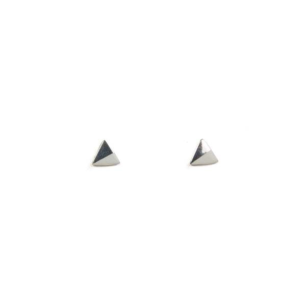 Silver Triangle with Enamel earrings - white