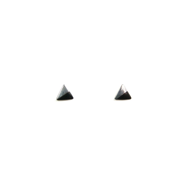 Silver Triangle with Enamel earrings - black