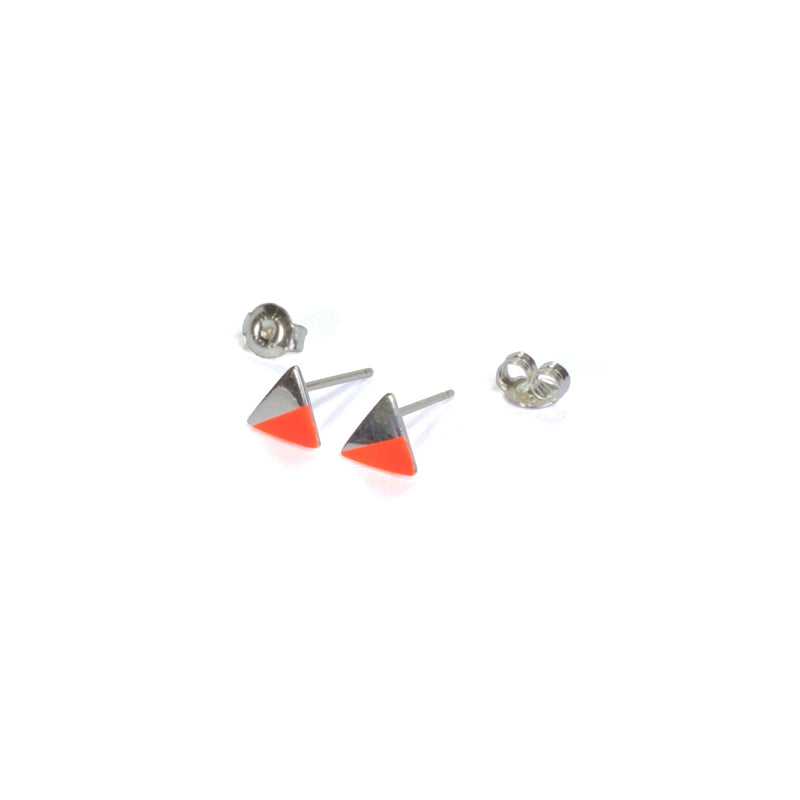 Silver Triangle with Enamel earrings with posts in - orange