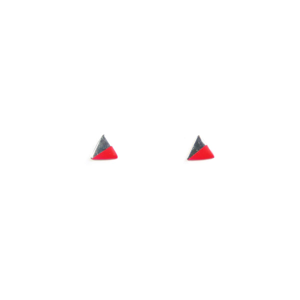 Silver Triangle with Enamel earrings - pink