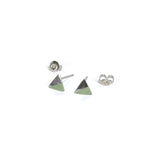 Silver Triangle with Enamel earrings with posts in - mint
