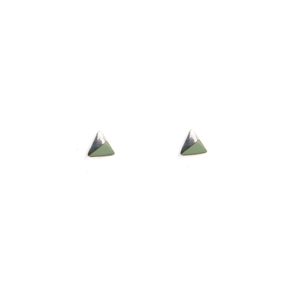 Silver Triangle with Enamel earrings - mint