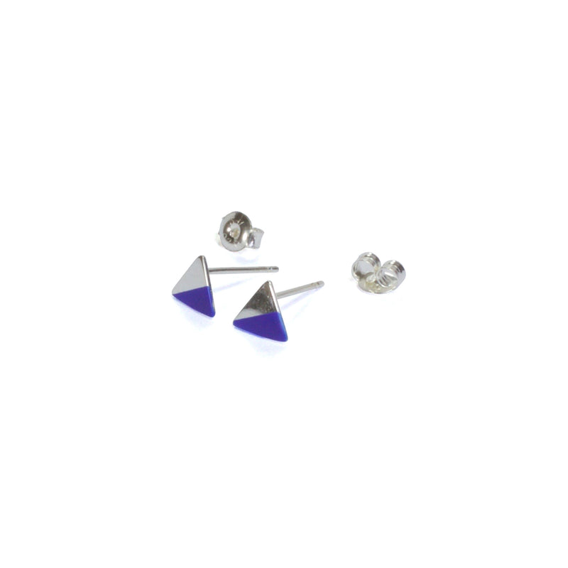 Silver Triangle with Enamel earrings with posts in - blue