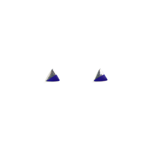 Silver Triangle with Enamel earrings - blue