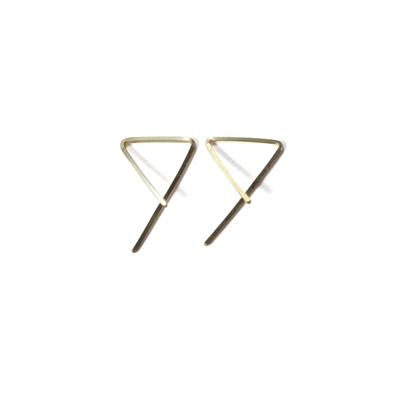 3-D Triangle Wire Earrings - Yellow Gold