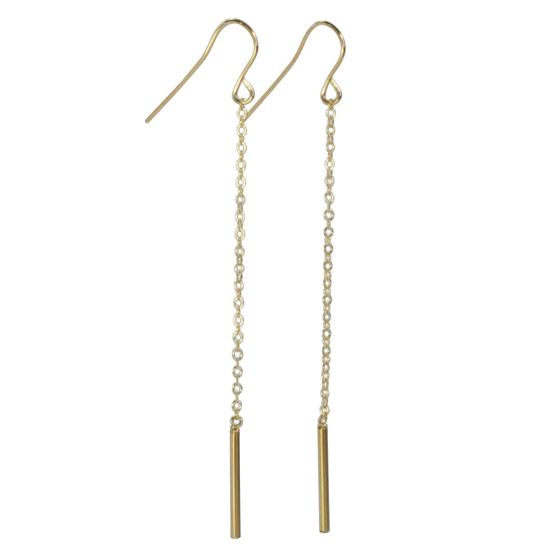 Bar with Chain Gold Earrings
