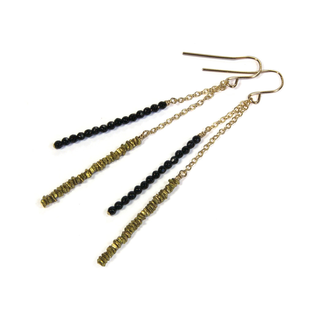 Brass Chip with Black Pyrite Earrings
