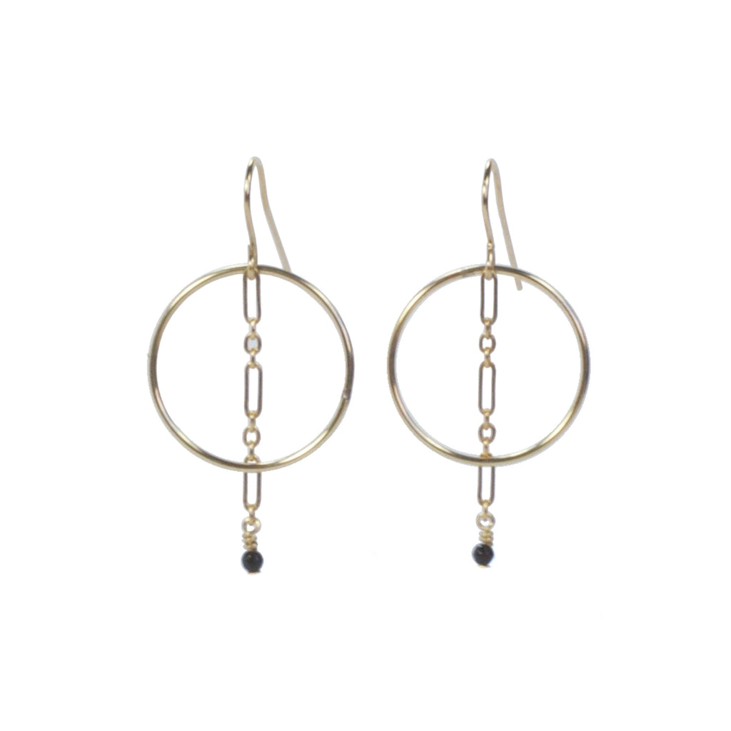 Gold Circle and black pyrite stone on chain earrings