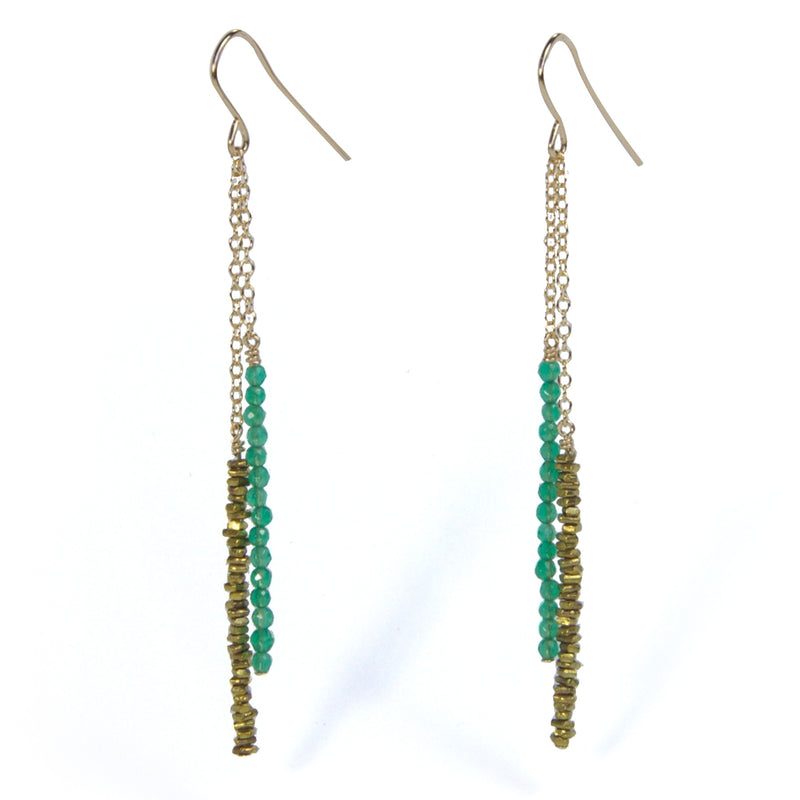 Brass Chip with Green Agate Earrings Alternate