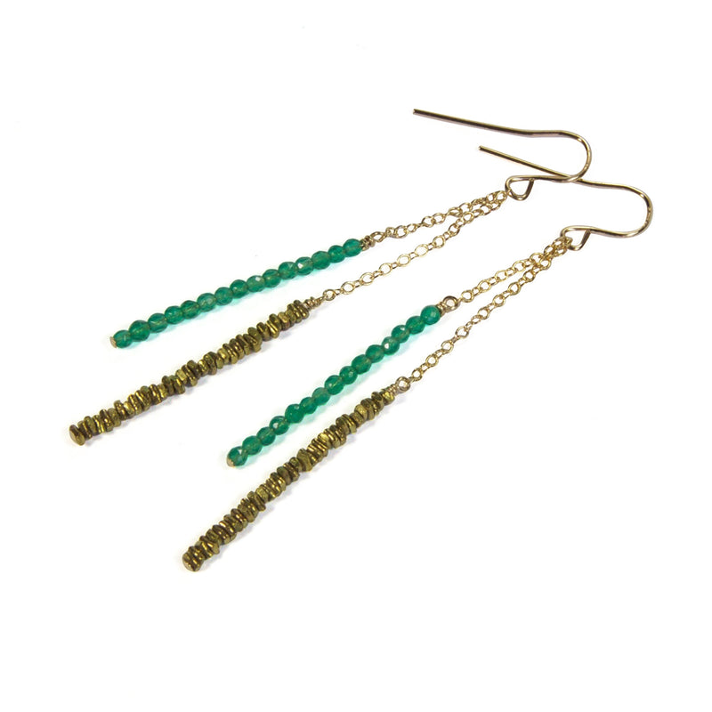Brass Chip with Green Agate Earrings